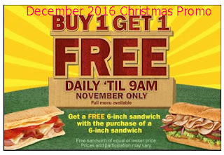 free Subway coupons for december 2016