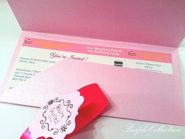 Birthday Invitation Card - Boarding Pass Card Style, Birthing Invitation Card, Invitation Card, Birthday Card, Birthday, Boarding Pass Card Style, Boarding Pass Pocket, Boarding Pass, Card, Birthday celebration, celebration, Pink, Red envelope, You're Invited