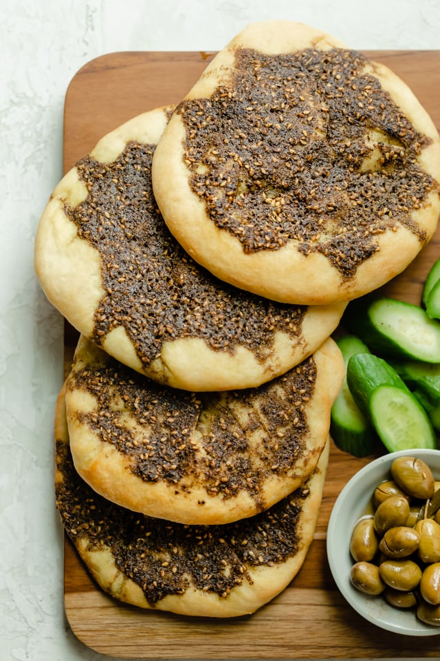 Mediterranean flatbread (Zaatar Manakeesh)