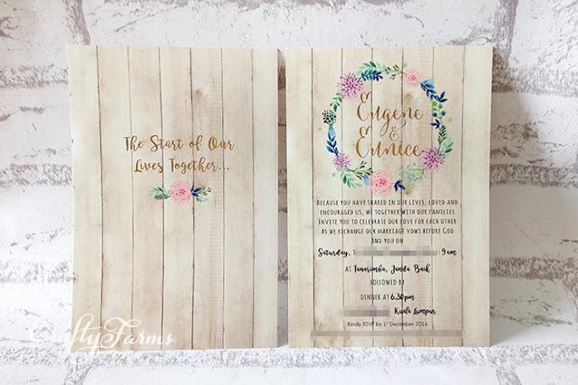 Rustic Themed Gold Stamping Wedding Card, Tanarimba Janda Baik, Malaysia