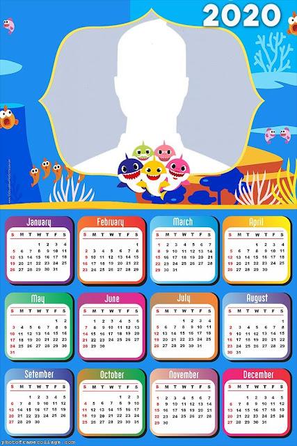 Baby Shark: Calendario 2020 para Imprimir Gratis.