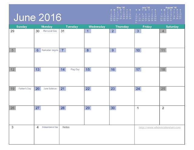 June 2016 Printable Calendar PDF, June 2016 Printable Calendar Excel, June 2016 Printable Calendar Word, June 2016 Printable Calendar templates