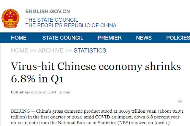Η οικονομία της Κίνας συρρικνώθηκε για πρώτη φορά μετά από 40 χρόνια!