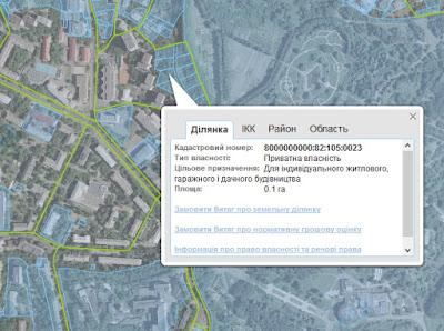 інформація про земельну ділянку в кадастровій карті