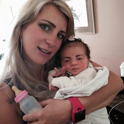 mother makeup baby