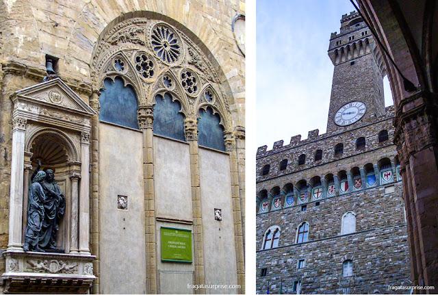 Detalhe da fachada da Igreja de Orsanmichele, do Século 14, e a torre do Palazzo Vecchio, sede do governo de Florença na Idade Média e no Renascimento