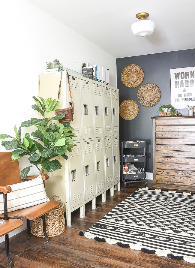 Modern industrial farmhouse office with vintage inspired map cabinet