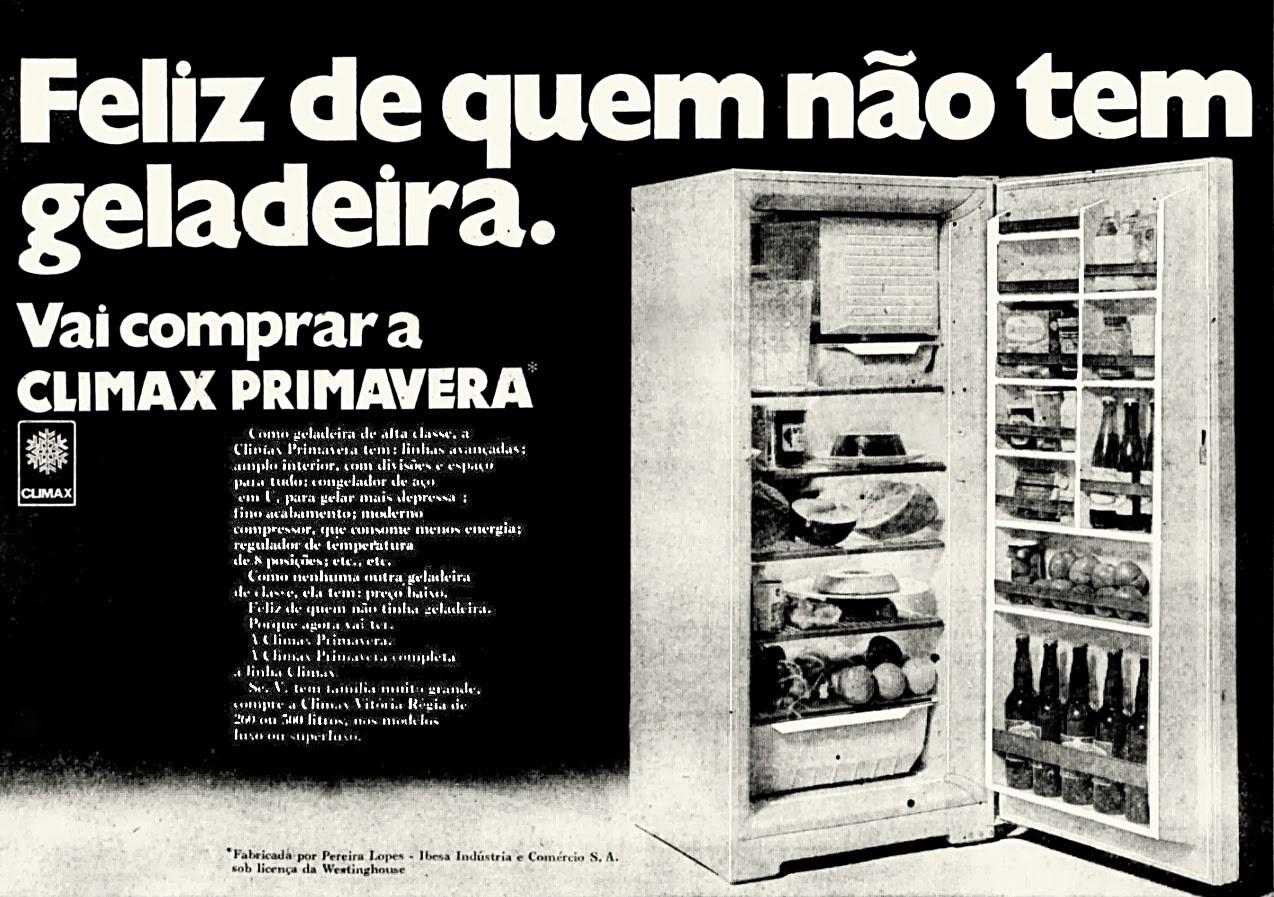 Propaganda antiga da geladeira Clímax apresentada em 1970