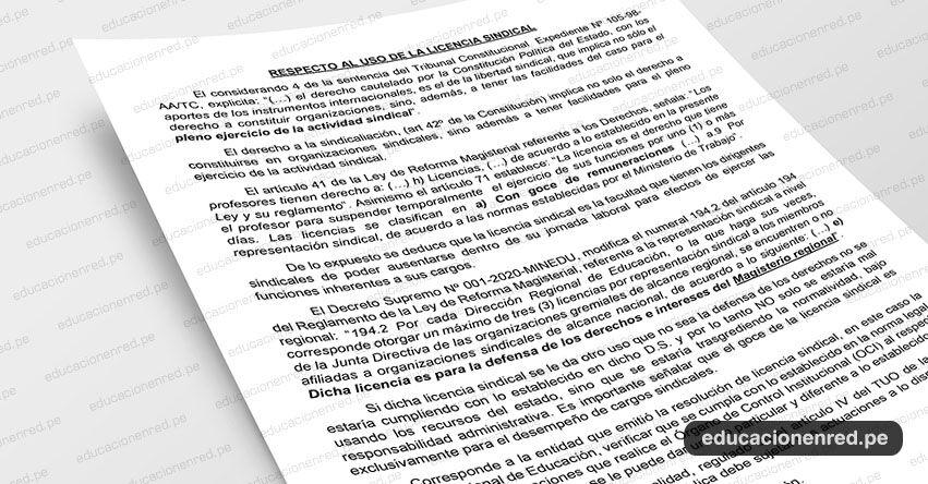 ANÁLISIS: Respecto al uso de la Licencia Sindical (Fernando Gamarra Morales)