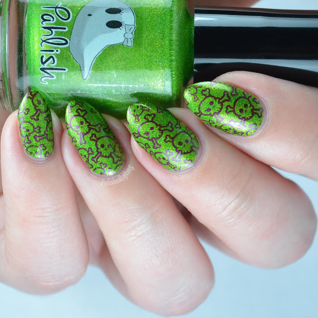 green nail polish with skull stamping