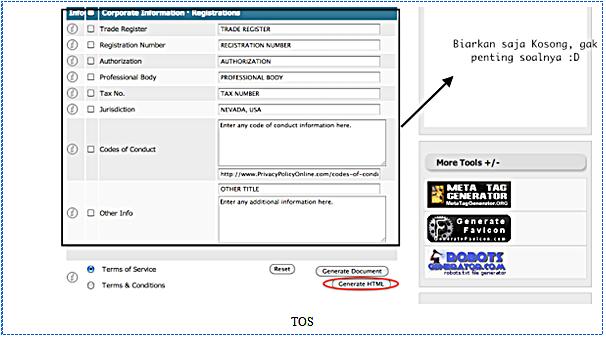 Cara Pemasangan Laman Laman TOS tahap 4