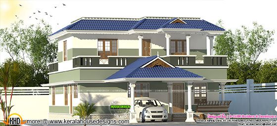 2048 sq-ft 3 bedroom Kerala home design