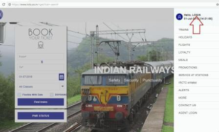 Picture of sidebar menu on new IRCTC website