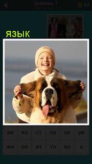 женщина держит за уши огромную голову собаки, у которой язык из пасти висит