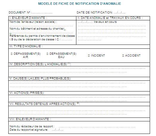 Modèle de fiche de notification d'anomalies   Cours génie ...