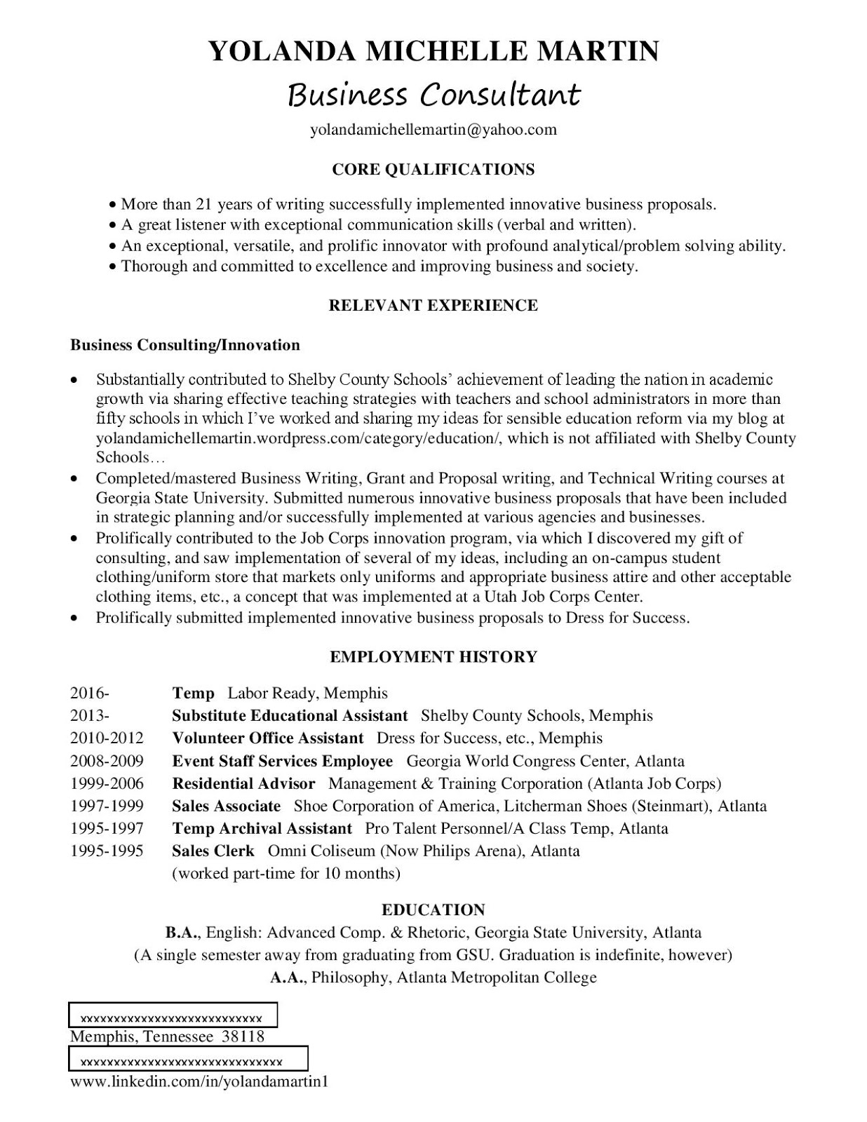 listing merely the job titles without a summary of job duties in the employment history section in this resume format actually and quite sufficiently