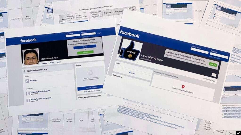 Páginas de un reporte confidencial de un informante al que tuvo acceso The Associated Press, junto a dos páginas impresas de Facebook que estaban activas el martes 17 de septiembre de 2019, fotografiadas en Washington / AP
