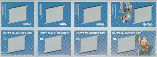 Back of last four Justice League Valentines