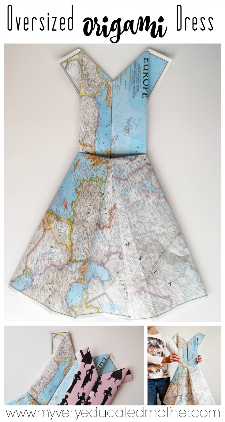 Create amazing, affordable wall art by folding maps and wrapping paper into oversized origami dresses! by My Very Educated Mother