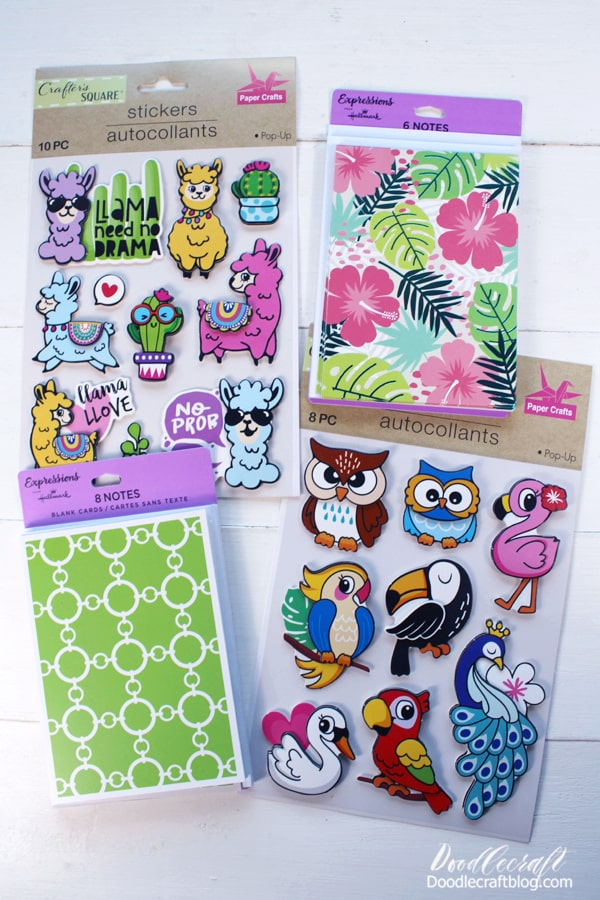 Dollar Tree Card Supplies Needed: Pop-Up Stickers Hallmark Expressions Note Cards