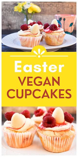 Easter Raspberry & White Chocolate Cupcakes - Vegan & Dairy-Free