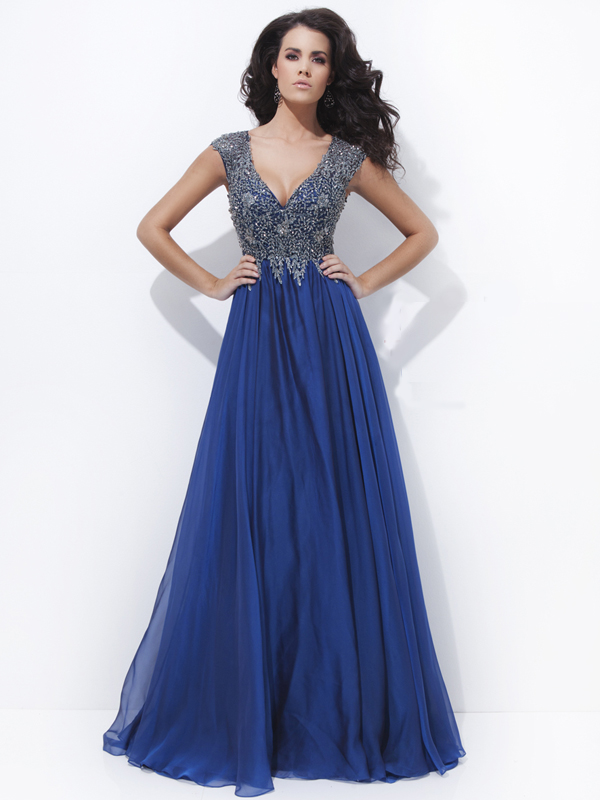 A-line V-neck Lace Prom Dresses/Evening Dresses #GY108