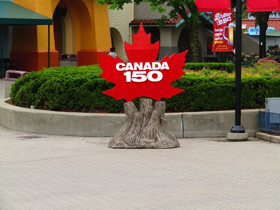 One of two large Canada 150 maple leaves on display in front of the Royal Fountains on International Street.