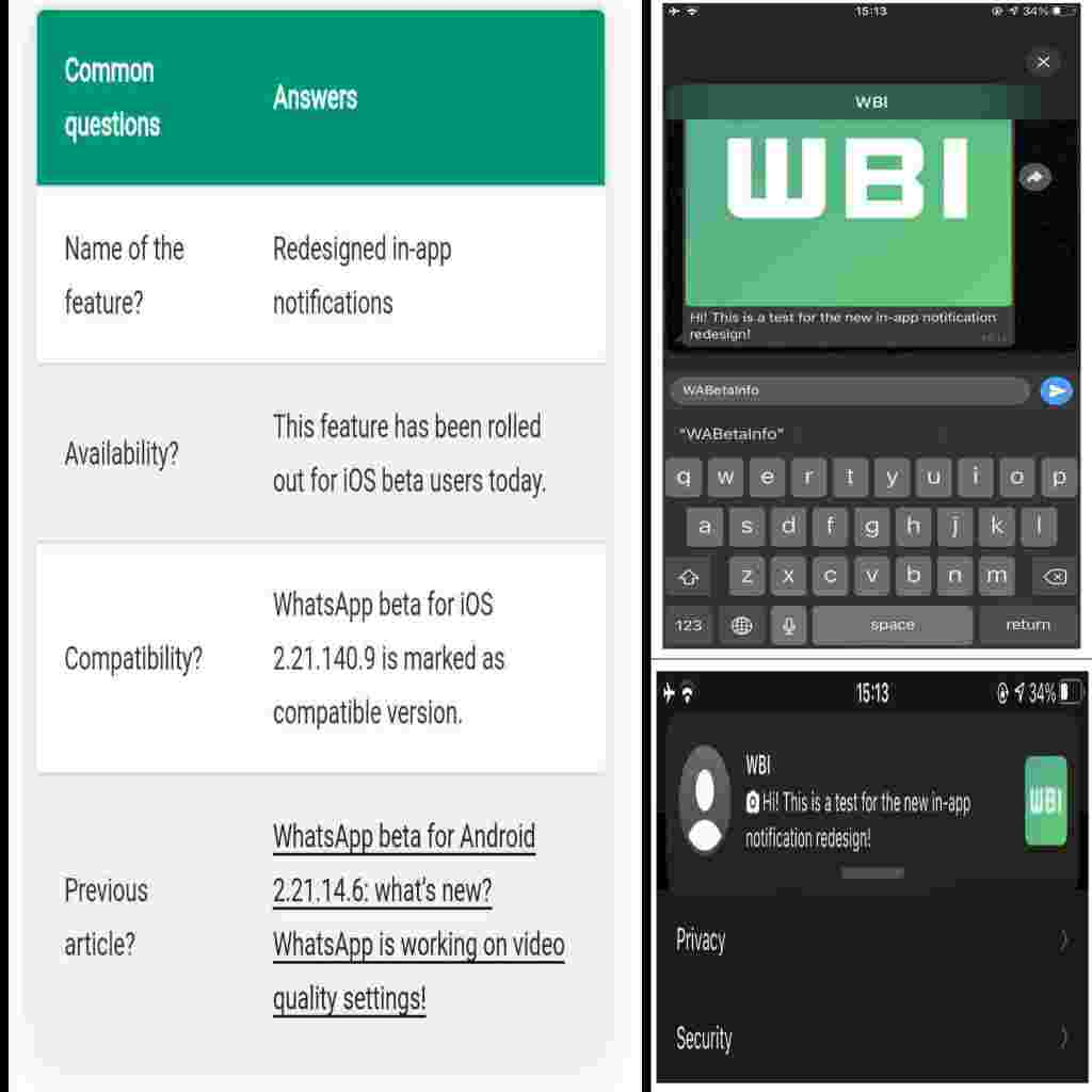 Whatsapp's Redesigned In-app Notification