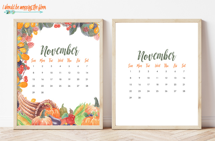 Free November Calendar Printable