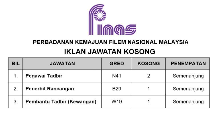 JAWATAN KOSONG DI PERBADANAN KEMAJUAN FILEM NASIONAL MALAYSIA