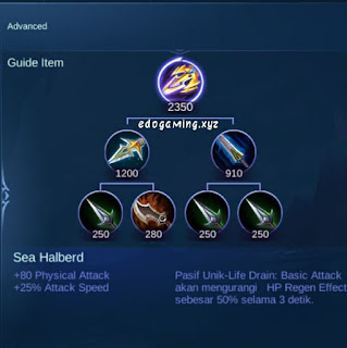 penjelasan lengkap item mobile legends item sea halberd