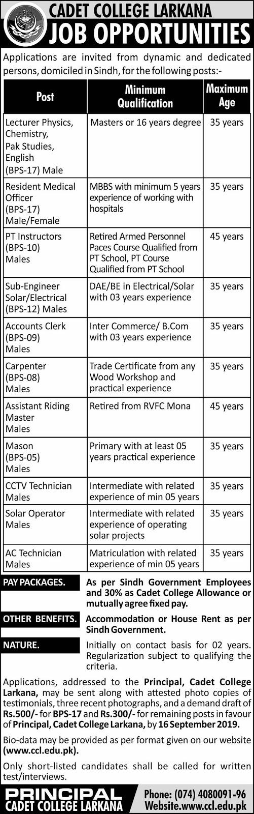 Cadet College Larkana Jobs August 2019 for Sub-Engineer.