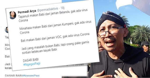 Abu Janda: Bali Makan Babi dari Zaman VOC, Tak Ada Virus Corona