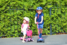 pink micro scooter stage 1 with basket and blue LED maxi scooter
