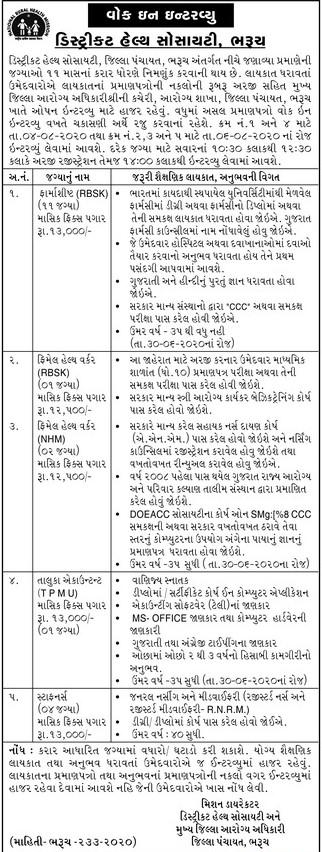DHS District Panchayat Bharuch Recruitment 2020