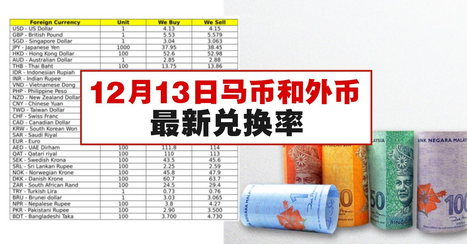 12月13日马币和外币最新兑换率