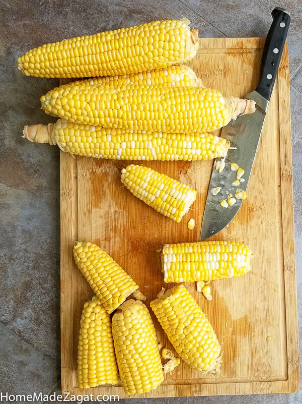 Cleaned corn on the cob, peeled and cut up
