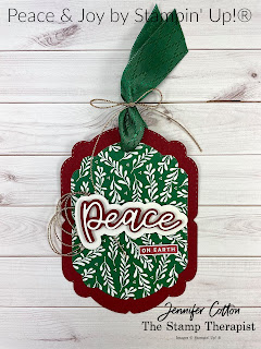 Christmas gift tag with Stampin' Up!'s Peace & Joy Bundle and Celebration Labels Dies.  Both retiring Jan 4, 2020!  Video link & supply list on the blog!  #StampinUp #StampTherapist