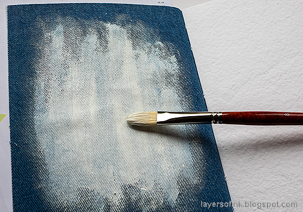 Layers of ink - Denim and Acrylic Paint Background Tutorial by Anna-Karin Evaldsson. Gesso the page.