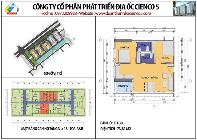 Mặt bằng căn hộ CH30 tầng 3-18 tòa HH02A&B