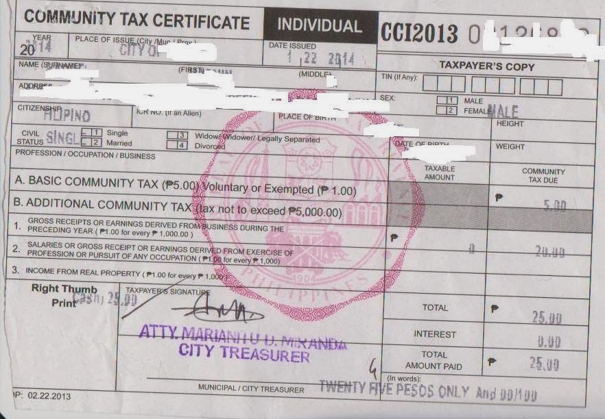 Tidbits and Bytes: How to Get Cedula or Community Tax ...