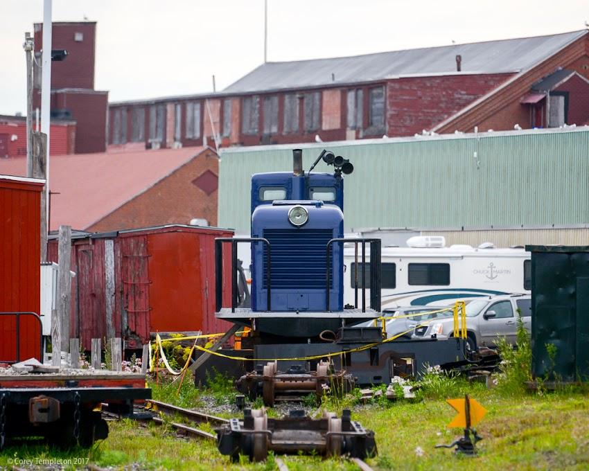 July 2016 Photo by Corey Templeton of Portland Maine USA. An engine from the Maine Narrow Gauge Railroad Co. & Museum sitting on the tracks near the Eastern Waterfront.