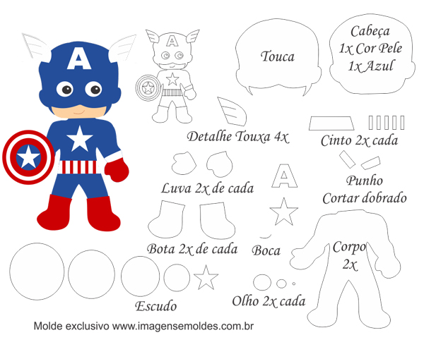 Captain America Baby Free Printable Template