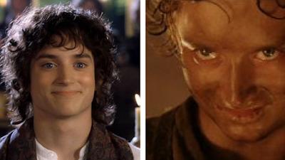 Dos imágenes: una de Frodo sonriendo antes del viaje y otra de Frodo afectado por el viaje con mirada malvada