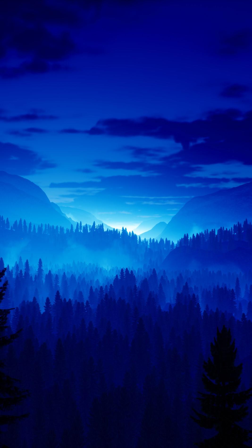 blue landscape nature phone wallpaper