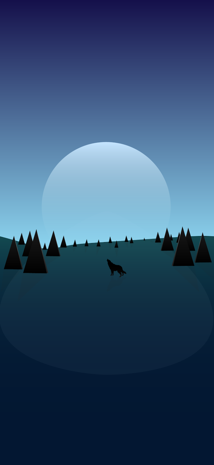 wolf-howling-in-forest-minimalist-wallpaper