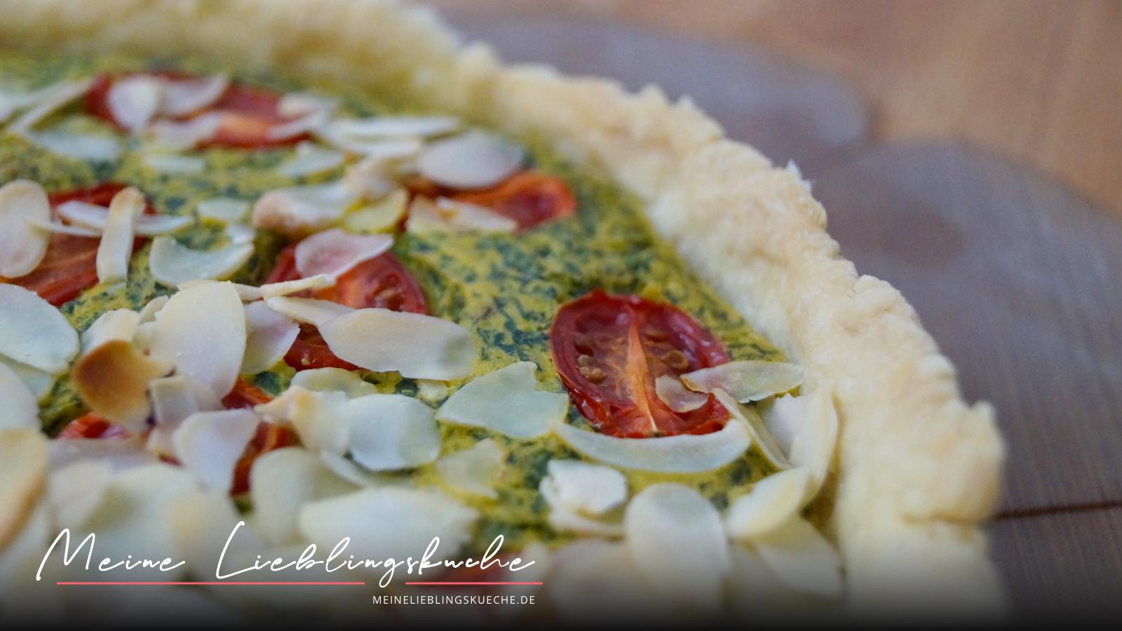 vegane Spinat Quiche mit Tomaten