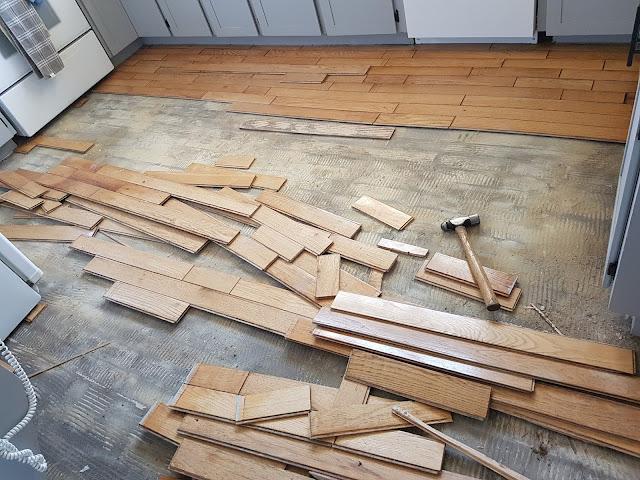 oak floor being removed