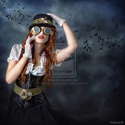 Redheaded woman with steampunk outfit including derby, goggles, gloves and belt.