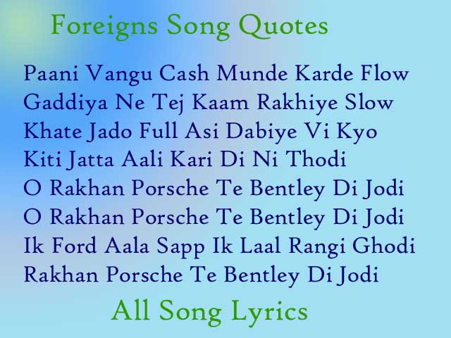 Foreigns Song By Ap Dhillon And Gurinder Gill Lyrics